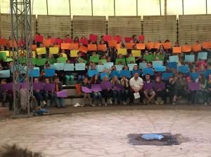 Regenbogen in der Arena